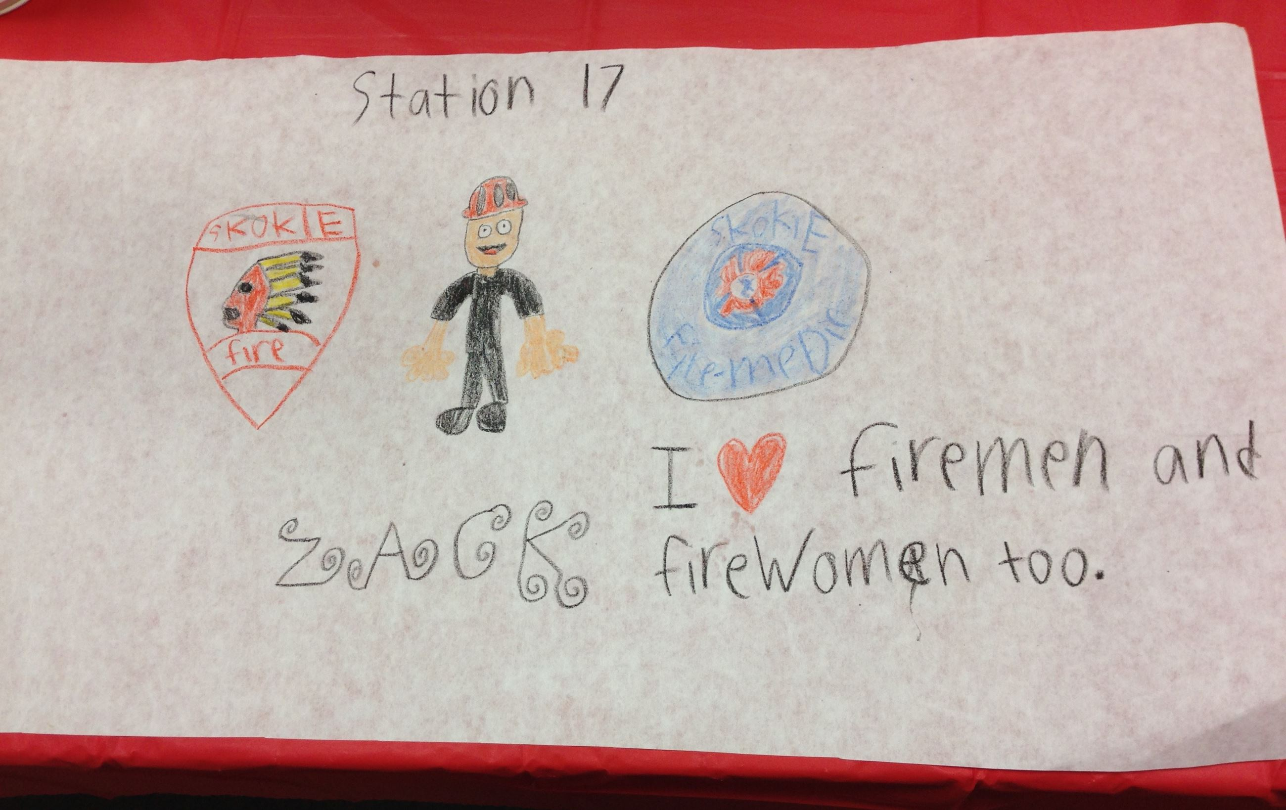 Childs drawing from Fire Station 17 Spaghetti Dinner October 2016