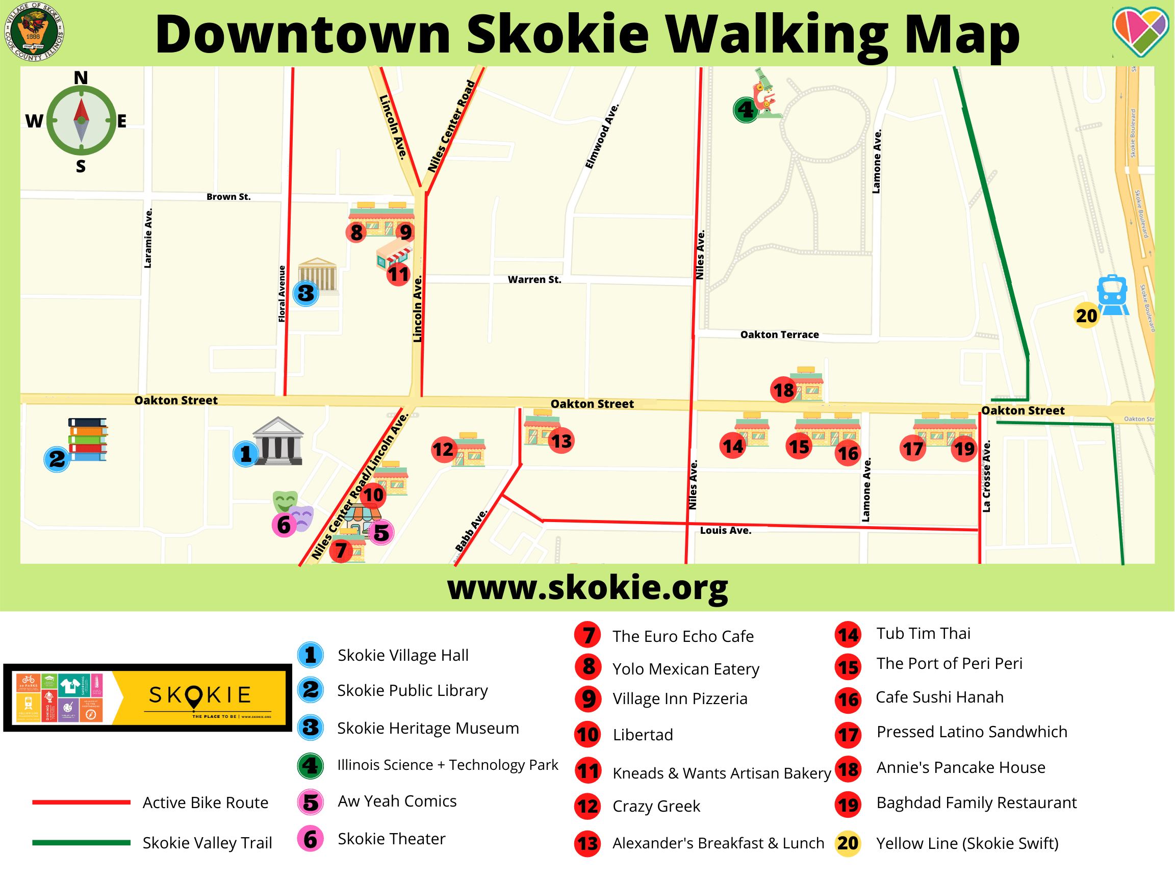 Downtown Skokie Walking Map (1)