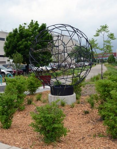 Image of spherical metal sculpture