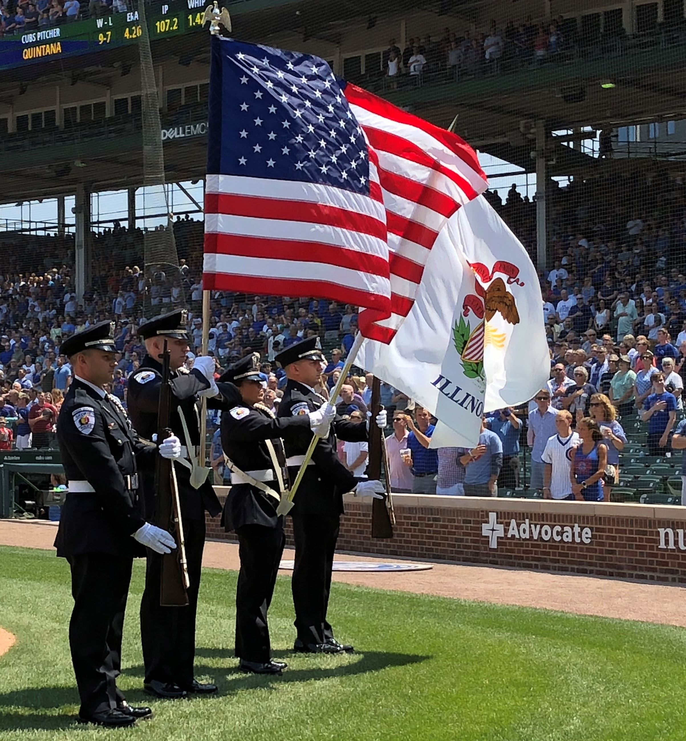Skokie Police Presenting Colors at Chicago Cubs Game