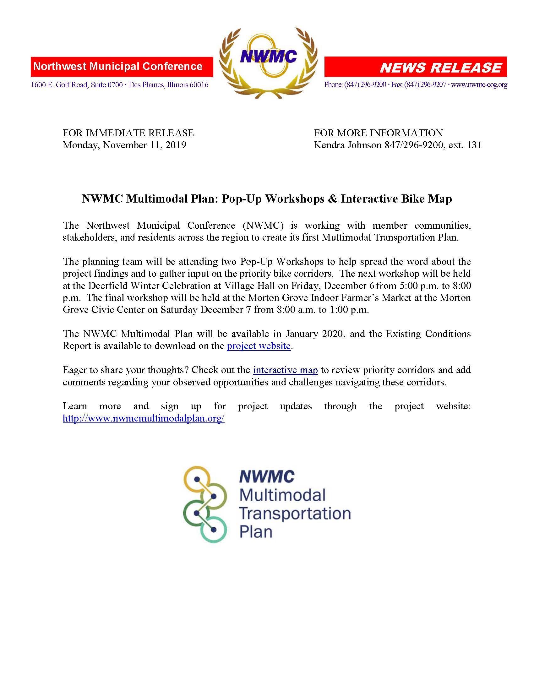 NWMC Multimodal Plan Press Release -11-11-19